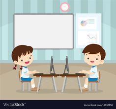 Students learning with computer Royalty Free Vector Image Teaching Kindergarten, Student Learning, Fun Learning, Computer Vector, Computer Lab, Cute Cartoon Pictures, Cartoon Pics, Teacher Wallpaper, Animation Schools