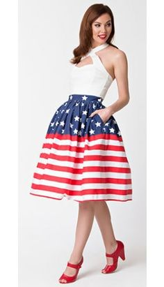 Preorder -  Unique Vintage 1950s Style Stars & Stripes High Waist Swing Skirt