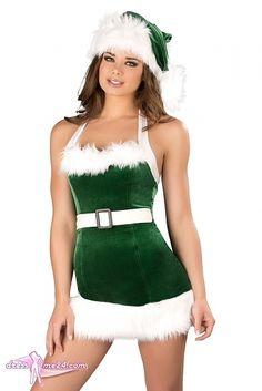 Besuche uns gern auch auf dressme24.com ;-) X-mas Kostüm - Santas Elfe - Das etwas andere Weihnachtskostüm! Ein satt grünes Stretch Samt Neckholder Minikleid mit weißen Trägern und weißer Pelzimitatverzierung. Mit einem weißem angenähten Gürtel und Schnalle. #Kostueme, #Weihnachtskostueme, #Xmas