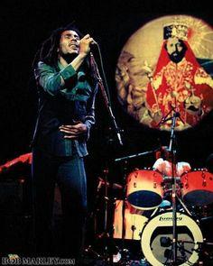 Bob Marley, Carlton Barrett and Haille Selassie