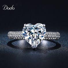 En forma de corazón de oro blanco plateado joyería de la antigüedad Del Anillo de la CZ del cristal del diamante de la venda de boda Anillos de Compromiso para las mujeres niñas bijoux DR048