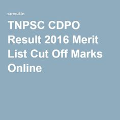 TNPSC CDPO Result 2016 Merit List Cut Off Marks Online