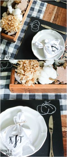 DIY Chalkboard Placemats and 15 Quick And Easy DIY Placements That Add Style To Your Thanksgiving Table. Craft Activities For Kids, Crafts For Kids, Craft Ideas, Decor Ideas, Thanksgiving Table, Thanksgiving Decorations, Diy Chalkboard, Natural Cleaning Products, Pumpkin Recipes
