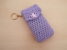 Hand crochet pocket tissue cover keyring  lilac by Knittingtopia