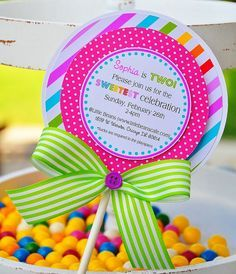 Lollipop  Invitations, Candyland Lollipop Invitations. $38.00, via Etsy.