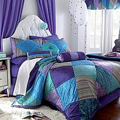 Romantic teal and purple comforter sets best 25 bedding ideas at intended f Teen Girl Bedding, Teen Girl Bedrooms, Teen Girl Comforters, Purple Comforter, Comforter Sets, Lavender Comforter, Duvet Bedding, Bedspread, Bedroom Themes
