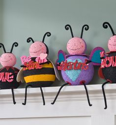 Alone or together, this gang of love bugs will sweeten your Valentine's Day! OMG! Have you ever seen a cuter Valentine's Day craft? I would bet you haven't until now. These love bugs were created by one of our very talented designers, Julie Lewis. #PlaidCrafts