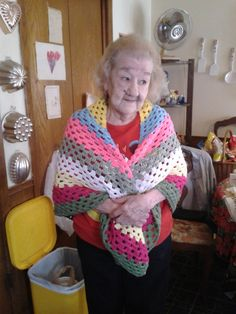 I made a crochet shawl for my grandmother's Christmas present! She loved it!