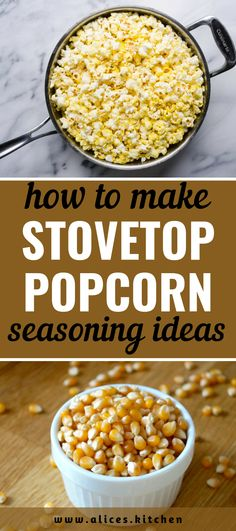 How to Make Popcorn on The Stovetop,However, the microwaveable stuff in the little flat packets isn't so desirable either. They often create a fug of popcorn odor all through your house,... Homemade Popcorn, Popcorn Recipes, Snack Recipes, Snacks, How To Make Popcorn, Pan An, Popcorn Seasoning, Microwave Popcorn