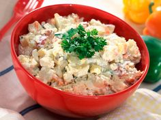 New Potato Salad   This is like my mother's salad using red new potatoes.  No peeling!   Fresh dill and a dab of milk or white wine... What's not to love?