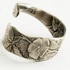 Victorian Rose Pattern Rare Sterling Silver Spoon Ring by Towle, Handmade in Your Size (1580)-Spoonier