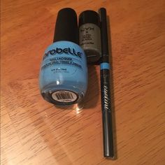 New NYX Loose Shadow, Tini Liner, Probelle Polish Brand new unused or swatched set. NYX Loose Pearl Eye Shadow in Charcoal Pearl. Finely-milled long lasting pigment. Eyetini by Tini Beauty Swizzle Stick in Blue Hawaiian sealed in original packaging. Mechanical eyeliner formula is smooth-glide, transfer-resistant, anti-smudging and fading that does not need sharpening. Probelle nail lacquer in Into the Blue, a cool blue cream. A top quality, high gloss, long lasting nail polish. Free of DBP…