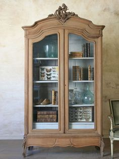 Antique French Style Armoire with Glass Doors - 4995 - The Bella Cottage