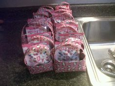 I made goodie bags for a birthday party out of Hello Kittly Duck tape!