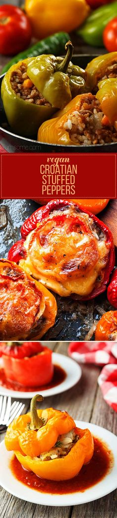 Croatian stuffed peppers, or punjene paprike, as they are called in these here parts, are total comfort food, … Eastern European Recipes, European Cuisine, Veggie Recipes, Vegetarian Recipes, Cooking Recipes, Plum Recipes, Gourmet Recipes, Bread Recipes, Cooking Tips
