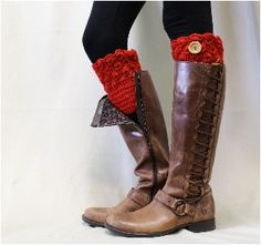 Boot topper | BOOTIE CUTIE Crochet red knit boot topper | knit boot cuff sock red