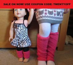 SALE! Knitted Sparkly Leg Warmers w/ Matching Dolls Pair-Sizes 6 months to 5 years, Valentines Day, Baby, Toddler, Girls, Dance, Gymnastics - pinned by pin4etsy.com