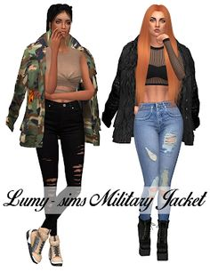 by LumySims The Sims4, Ts4 Cc, Sims 4 Custom Content, Sims Cc, Military Jacket, Camo, Clothes For Women, Guys, Female