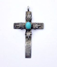 Vintage Southwestern Sterling Silver Turquoise Cross Pendant #Handmade