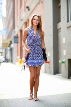 Aztec blue check Summer dress for every day