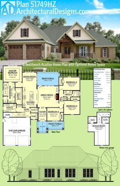 Architectural Designs 4 Bed Acadian Style Home Plan 51749HZ has a great covered entry with decorative timber brackets and a bonus room over the garage giving you great flexibility. Ready when you are. Where do YOU want to build?