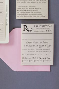 Medical themed wedding invitations are necessary when two doctors get married. If you know a doctor getting married, these doctor themed invitations are a must. The invitations were sent in a medical file folder and everything was paper clipped inside. The response card was a prescription and reception card was a diagnosis form! Click to read about the invitations or pin for your own boards!