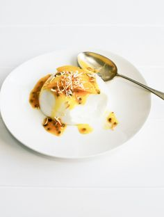 COCONUT & LIME PANNA COTTA WITH WHITE CHOCOLATE, FRESH PASSIONFRUIT AND TOASTED COCONUT