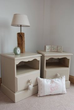 SOLD - A pair of pine bedside cabinets with their new colour using a mix of Annie Sloan's Old Ochre and Old White. Bleu-Clair x