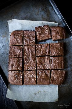 Salted Olive Oil Brownies from Savory Simple are a decadent, sweet and salty chocolate treat. They're some of the best brownies you'll ever taste. Just Desserts, Delicious Desserts, Dessert Recipes, Brownie Recipes, Chocolate Recipes, Chocolate Brownies, Chocolate Hazelnut, Chocolate Truffles, Chocolate Covered