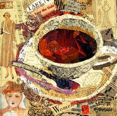 #collage art #Coffee cup ToniK ☕Coffee♥Craft☕ nancystandlee.blogspot.com