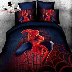 Blue Red Superhero Spiderman Bed And Quilt Cover Sets Www Qwerkyquilts