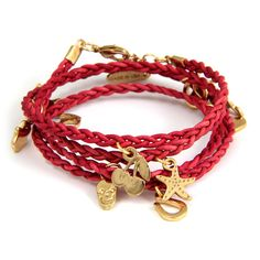 Braided Leather Wrap Bracelet with Charms