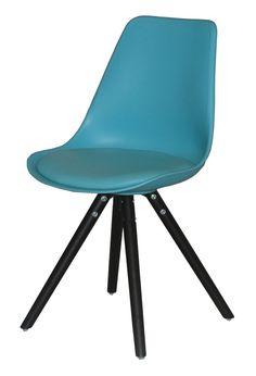 Krzesło WOODY turkus, drewno dębu malowane czarne, 22130-16  <sup><strong>Interstil</strong></sup>