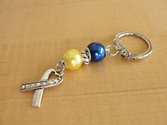 Blue and Yellow Awareness Key Chain - Down Syndrome - Fatty Acid Oxidation Disorders