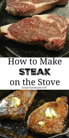 Steaks dont have to be just made on the grill. Juicy steaks can be made inside Steaks dont have to be just made on the grill. Juicy steaks can be made inside too. See how to make a steak on the stove and in the oven. Steak Recipes Stove, Easy Steak Recipes, Grilled Steak Recipes, Meat Recipes, Cooking Recipes, Grilled Steaks, Barbecue Recipes, Barbecue Sauce, Grilling Recipes