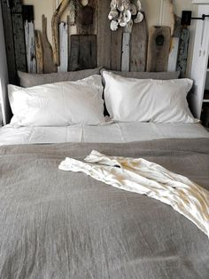 A rustic version of our bedroom decor - grey and white