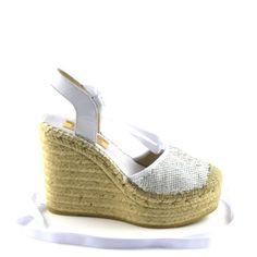 VIDORRETA 50800 White Paillettes Wedge Espadrille Sandal