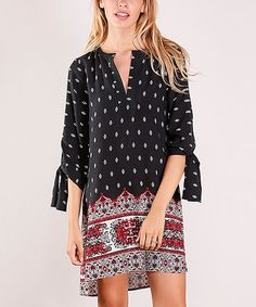 Look what I found on #zulily! Black & Red Geometric Quarter-Sleeve Tunic #zulilyfinds