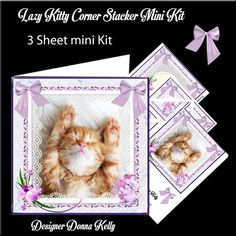 Lazy Kitty Mini Kit on Craftsuprint designed by Donna Kelly - This 3 sheet mini kit is approx 7x7