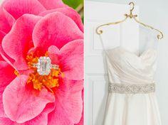 Bright Pink Camellias + Sparkly Crystal Belt   Blush, Blue + White Wachesaw Plantation Wedding   Dana Cubbage Weddings   Charleston SC Wedding Photography