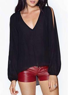 Casual V Neck Long Sleeve Chiffon T Shirt