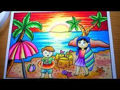 5 Exercises to Get Better at Drawing - Drawing On Demand Oil Pastel Drawings, Oil Pastel Art, Colorful Drawings, Crayon Drawings, Oil Pastels, Drawing Sunset, Beach Drawing, Summer Drawings, Easy Drawings For Kids