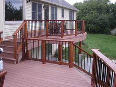 Two tiered deck with larger part to side of house