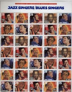 Blues and Jazz Singers Full Sheet of 35 x 29 Cent Stamps Scott Full Sheet of 35 x US Postage Stamps