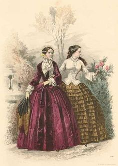 day dress fashion plate from wiener zeitschrift july 1840 sleeves were narrower and fullness. Black Bedroom Furniture Sets. Home Design Ideas