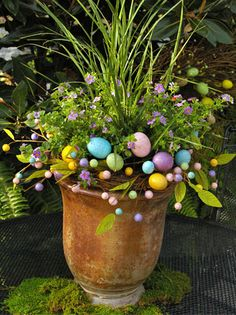 DIY Easter Themed Container Garden1 – Container with 12 inch diameter 1 – Easter wreath 2 –Dracaena spikes 3 –Bacopa (trailing purple flower)