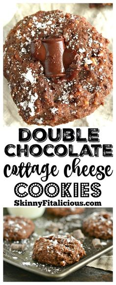Rich and decadent Double Chocolate Cottage Cheese Cookies! These mouthwatering cookies are unsuspectingly delicious, gluten free and low calorie. A high protein strange, but good snack! High Protein Desserts, Vegan Protein Bars, Protein Cake, Protein Cookies, Light Desserts, Diabetic Desserts, Chip Cookies, Healthy Cookie Recipes, Healthy Cookies