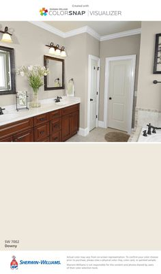 Sherwin-Williams: Downy (SW 7002). Great light off-white for a bathroom or any room.