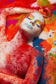 MUA: Felix Shtein   Face and Body ART I'm in love with all the texture and bright colors in this editorial look