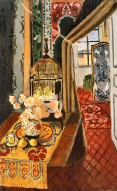 Henri Matisse - Interior, Flowers, and Parakeets, 1924